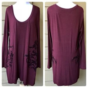 Soft Surroundings Tunic With Velvet Floral Detail